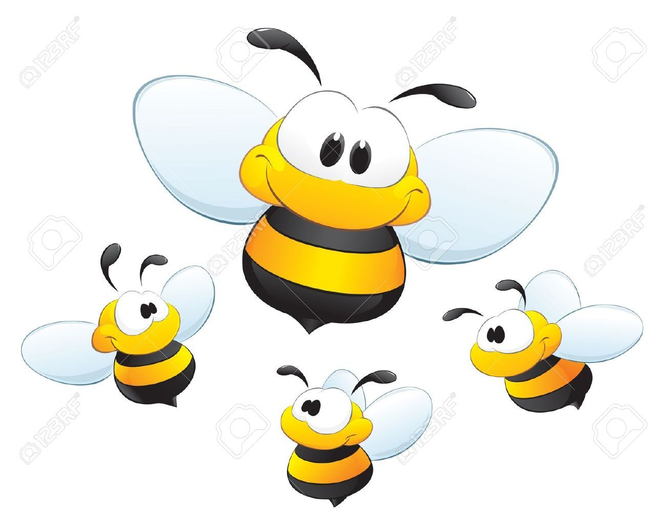 Cute cartoon bees for design element cake figures