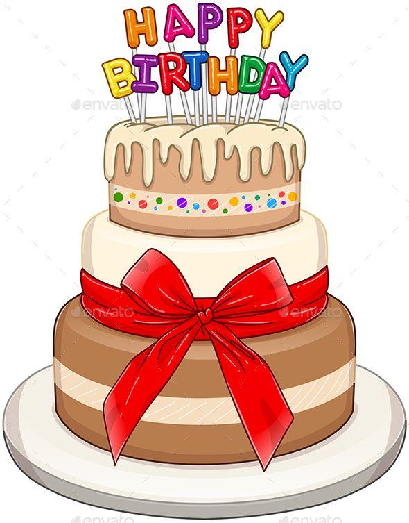 Vector Illustration Of 3 Floors Birthday Cake With Happy Birthday