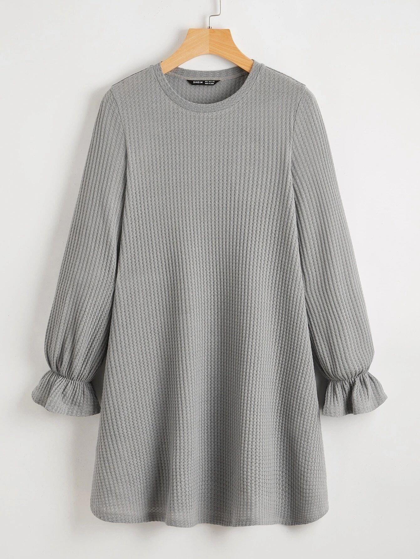 Ruffle Cuff Waffle Knit Dress 15 Knit Dress Fashion Clothes Women Waffle Knit [ 1785 x 1340 Pixel ]