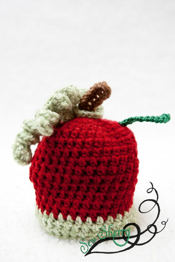 Clearance Knitted Apple Hat for 36 Mo by sherryfarnsworth on Etsy, $9.99