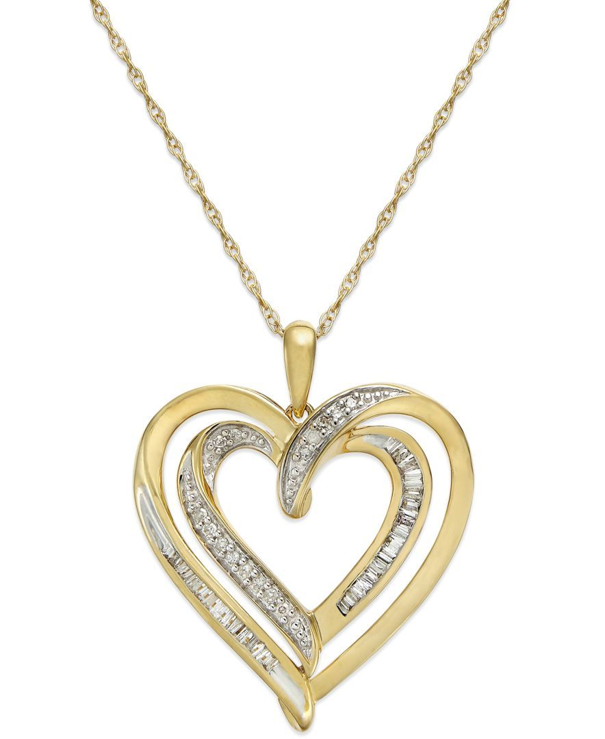 Diamond Heart Pendant Necklace In 10k Gold 1 4 Ct T W Heart Pendant Diamond Diamond Heart Pendant Necklace Diamond Heart