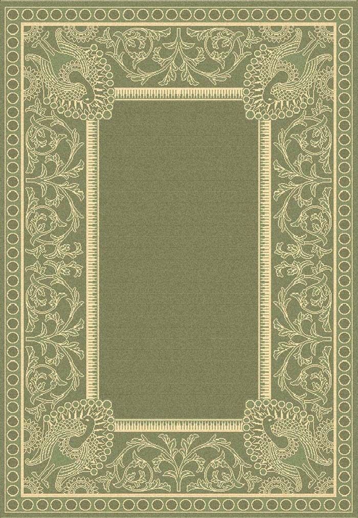 Decorative Borders Product | Olive and Beige Outdoor Rug With Decorative Border