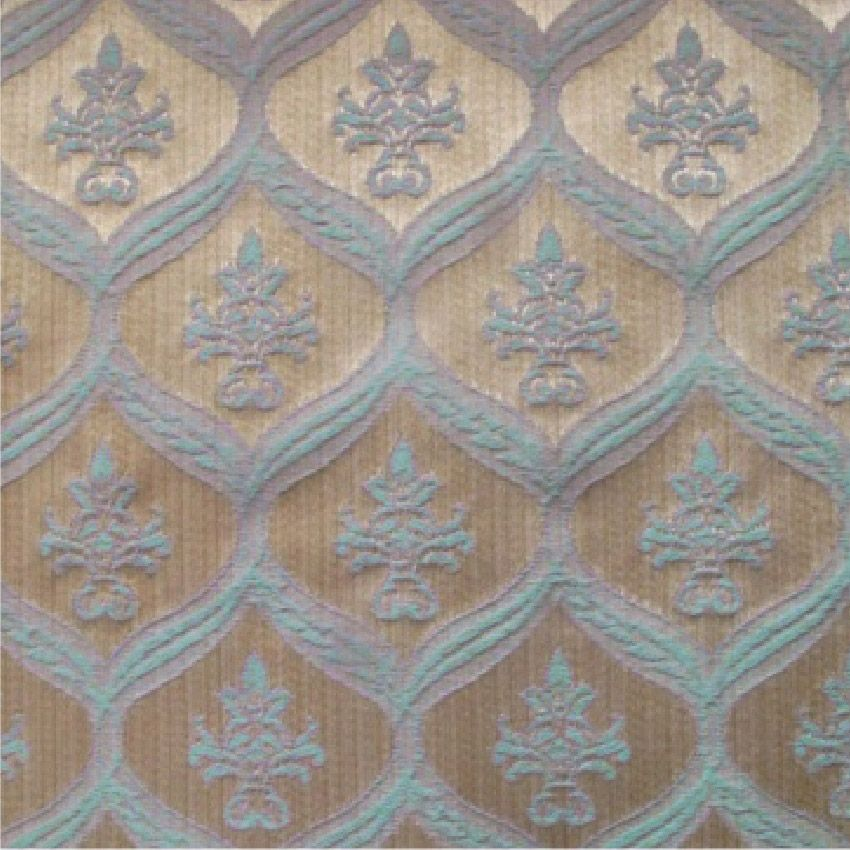 Patterned Cream And Blue Damask Curtain And Upholstery Fabric
