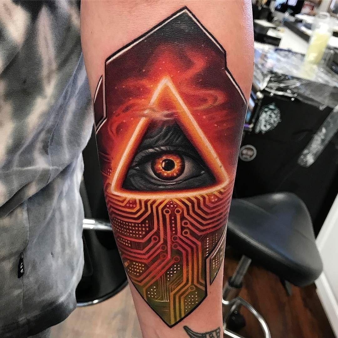 All Seeing Eye Circuit Board Tattoo By Kylecotterman At Distinction Electronic Full Sleeve Blackwork Male In Dayton Oh Distinctiontattoo Ohio Allseeingeye