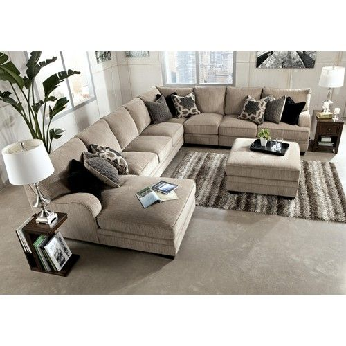 Signature design by ashley katisha platinum 5 piece for Ashley sectional sofa with chaise