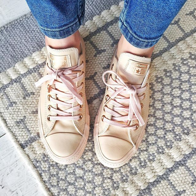 converse egret rose gold. brb, currently in shoe heaven with my new rose gold converse from womens office # egret l