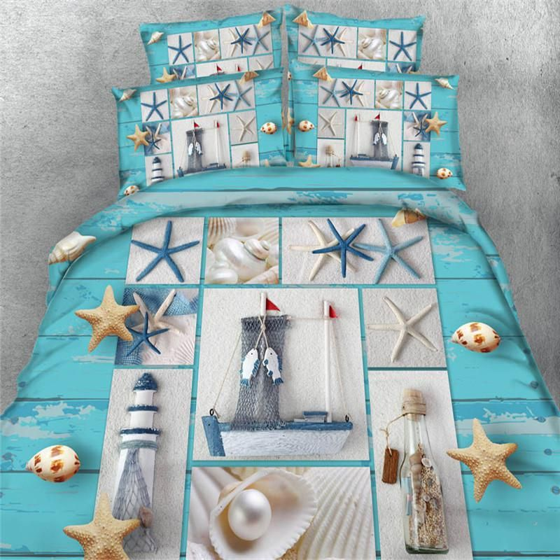 3d shell star fish sea scenery comforter bedding duvet