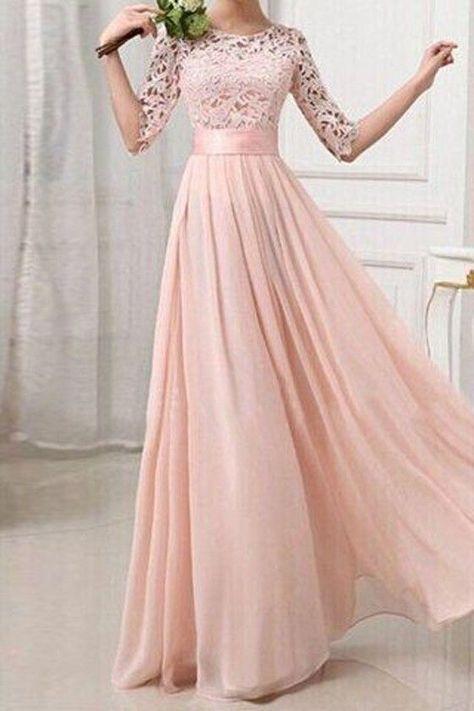 Rosa Damen Langarm Spitze MaxiKleid Lange Abendkleid Elegante ...