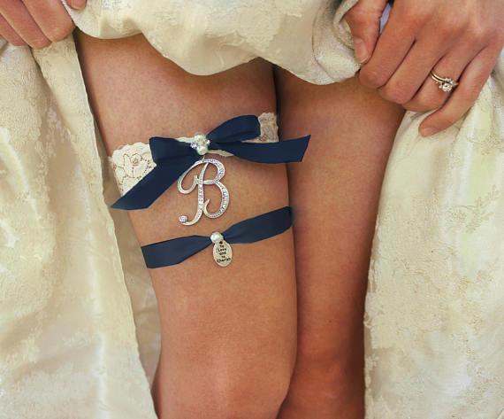 Something Blue Navy Garter Monogrammed Garter Wedding Bride Personalized Garter Brides Garter Blue Garter Garter Wedding Garter