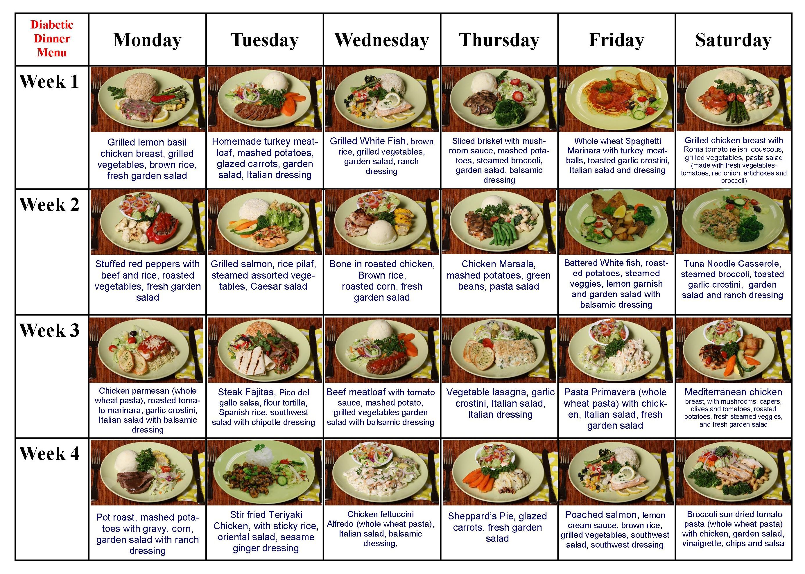 Diabetic Diet & Meals Diabetic Lunch & Dinner Menu at