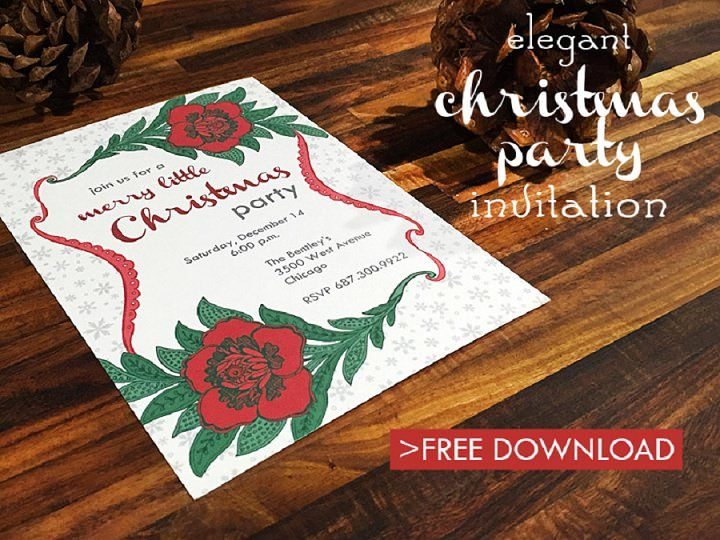 Free Download For An Elegant Christmas Party Invitation Christmas