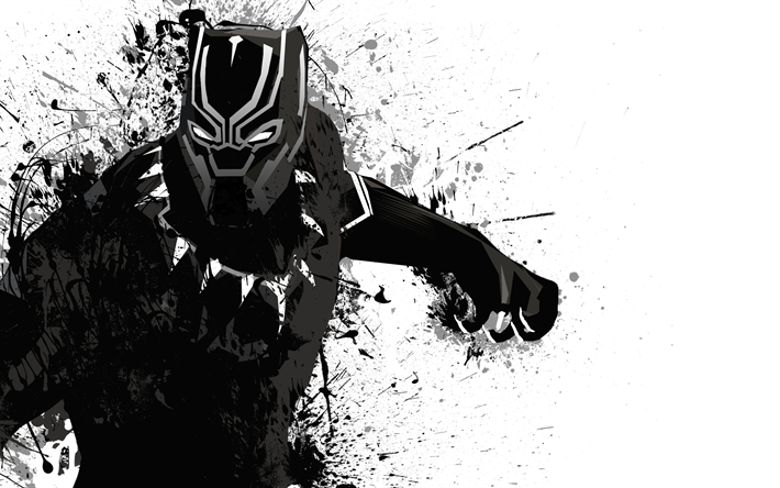 Download wallpapers Black Panther, monochrome, 2018 movie ...