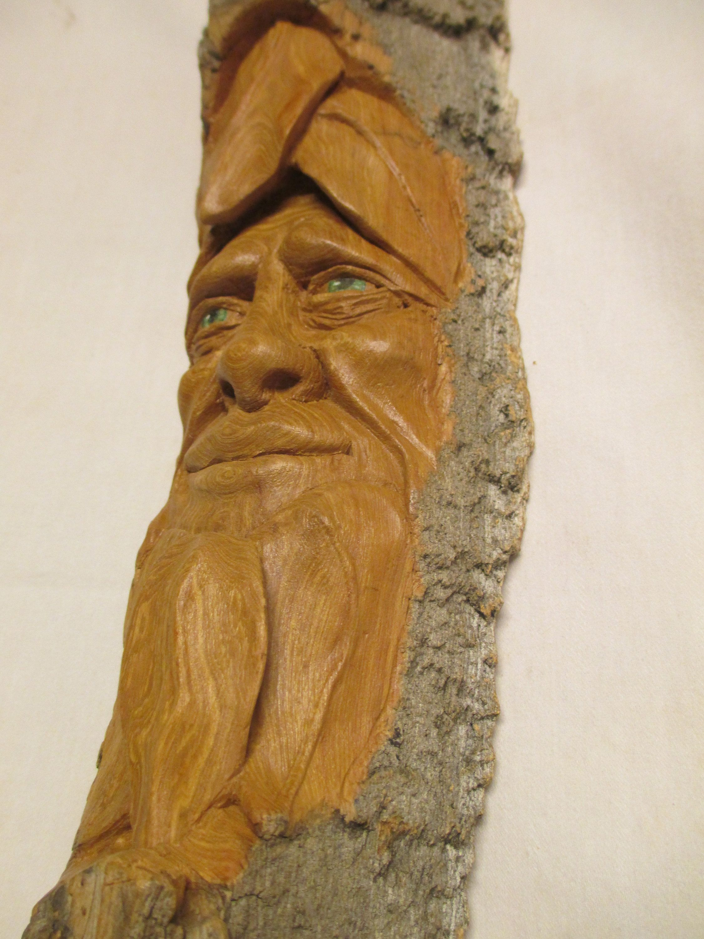 Carved green man log with sun dial h cm garden architectural
