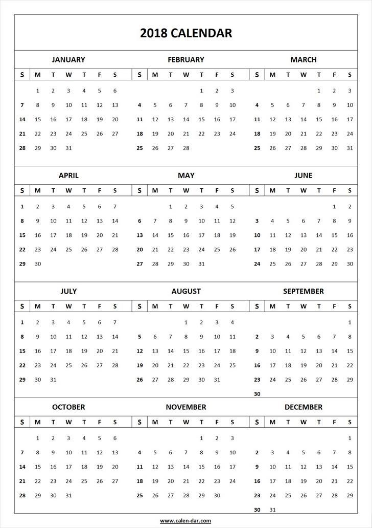 Calendar Template  Print Blank Calendar   Yearly