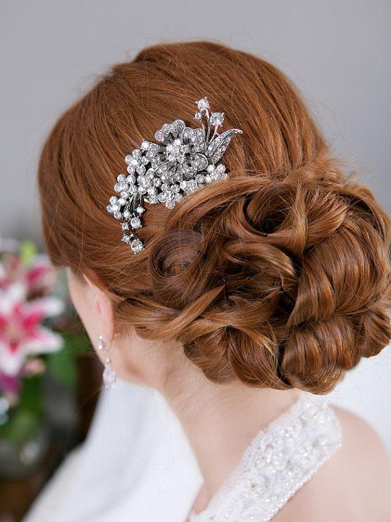 crystal hair comb rhinestone bridal hair comb by gildedshadows 29 95