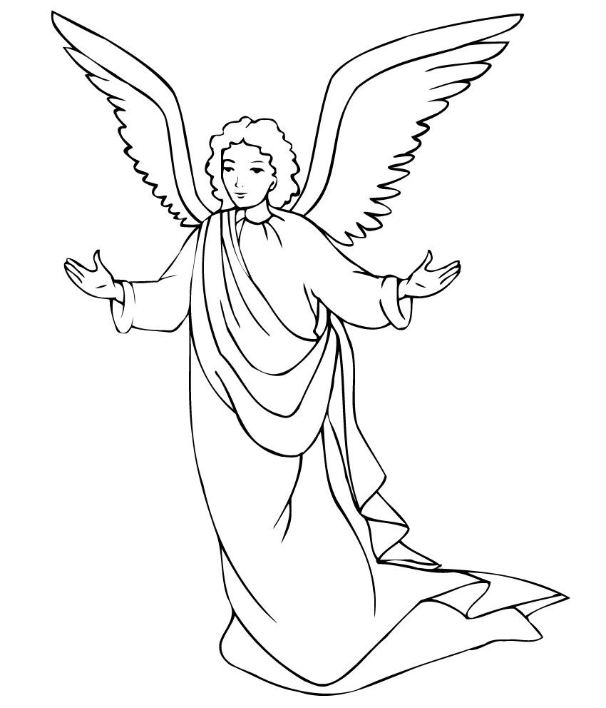 Christmas Christmas Angel And Star Printable Coloring Pages