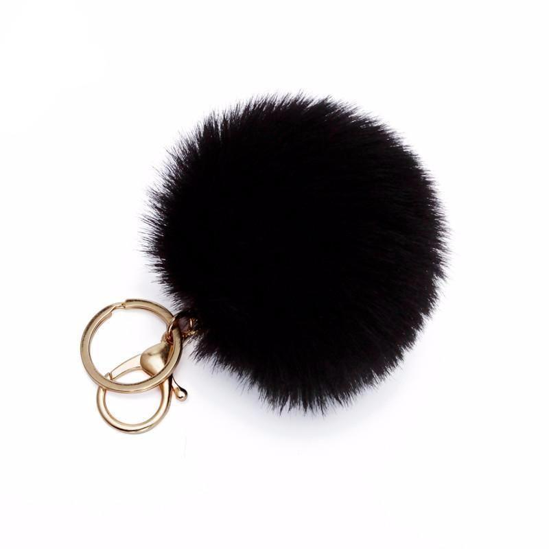Pom Pom Puff Rabbit Fox Faux Fur Ball Car Keychain Key Chain With