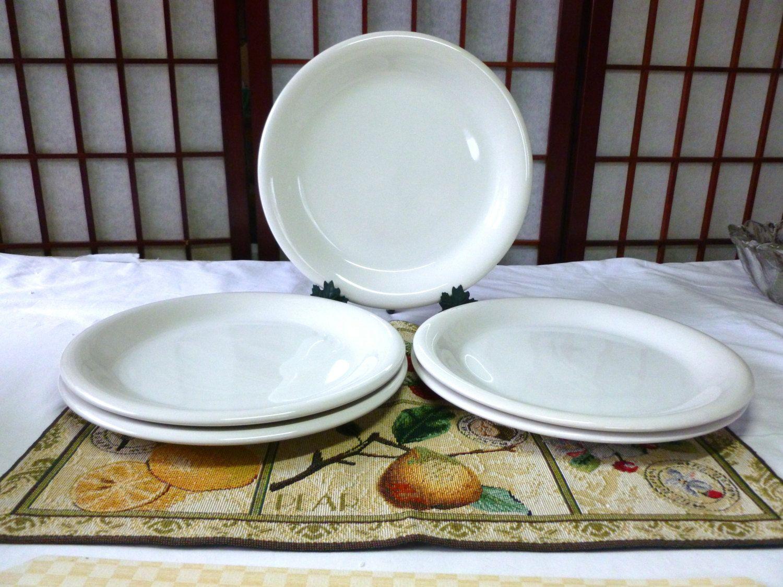 Vintage 5 White Stoneware Dinner Plates 846 Bravo White by Newcor Thailand by Vintage42Day on & Vintage 5 Newcor White Stoneware Dinner Plates Bravo White 846 ...