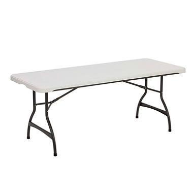 Lifetime Folding Table 80174 6 Foot Almond Fold In Half Table