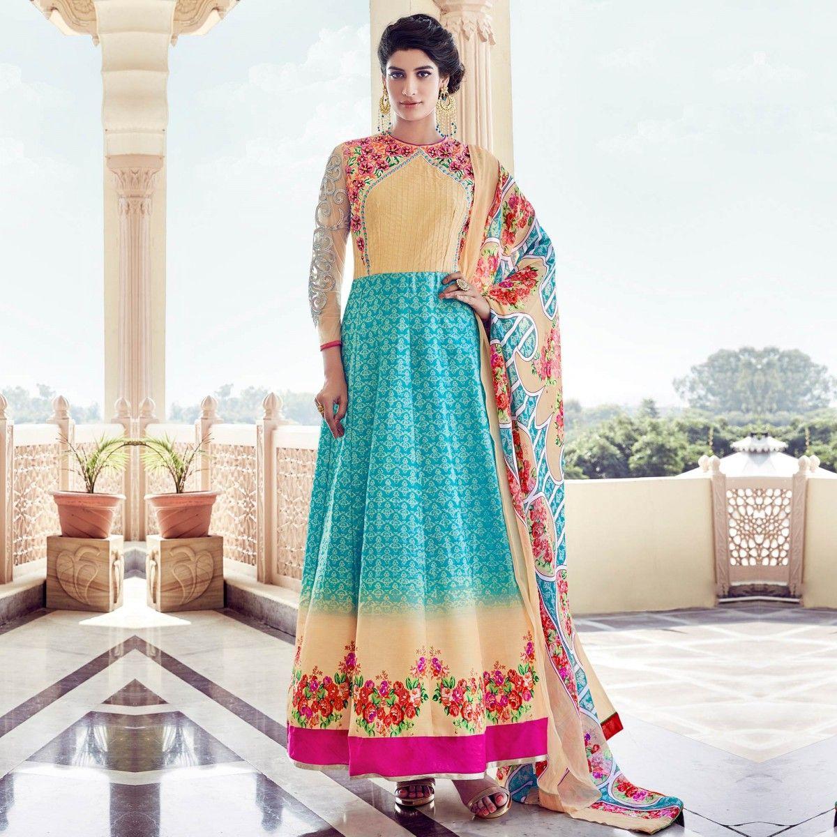 Buy Sky Blue - Light Orange Party Wear Anarkali Suit for womens ...