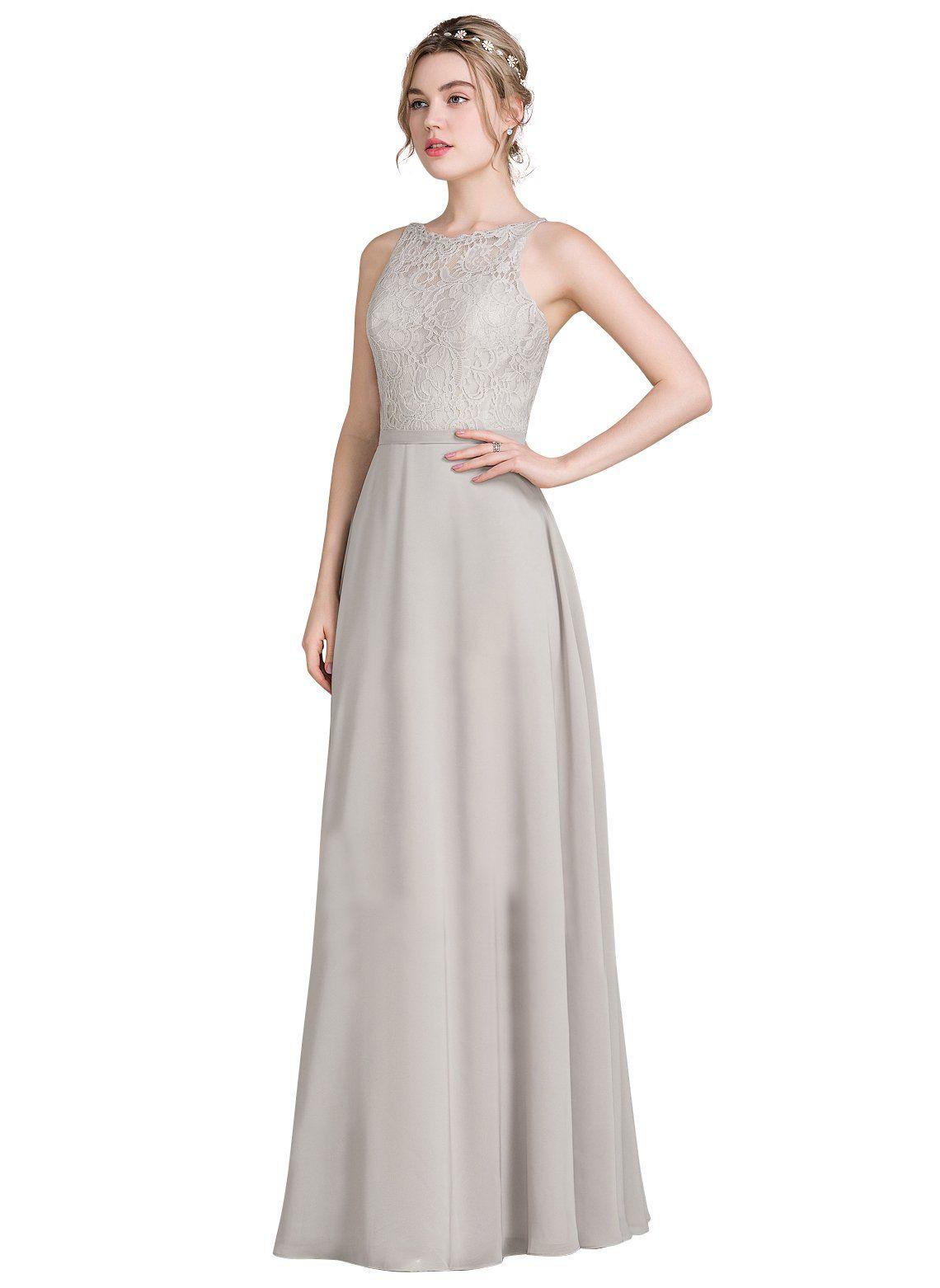 Loffy womens long prom dress bridesmaid dress lace chiffon evening
