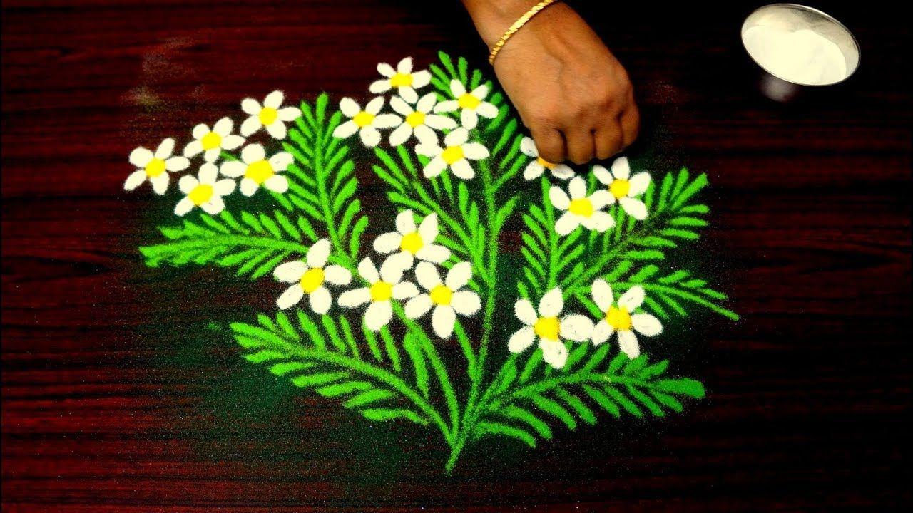Beautiful Rangoli Design For Diwali Unique Flower Kolam Design