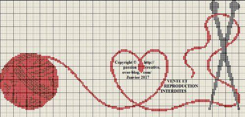 Grille gratuite point de croix : Tricot en coeur rouge 2   Point de croix, Modèles de point de ...