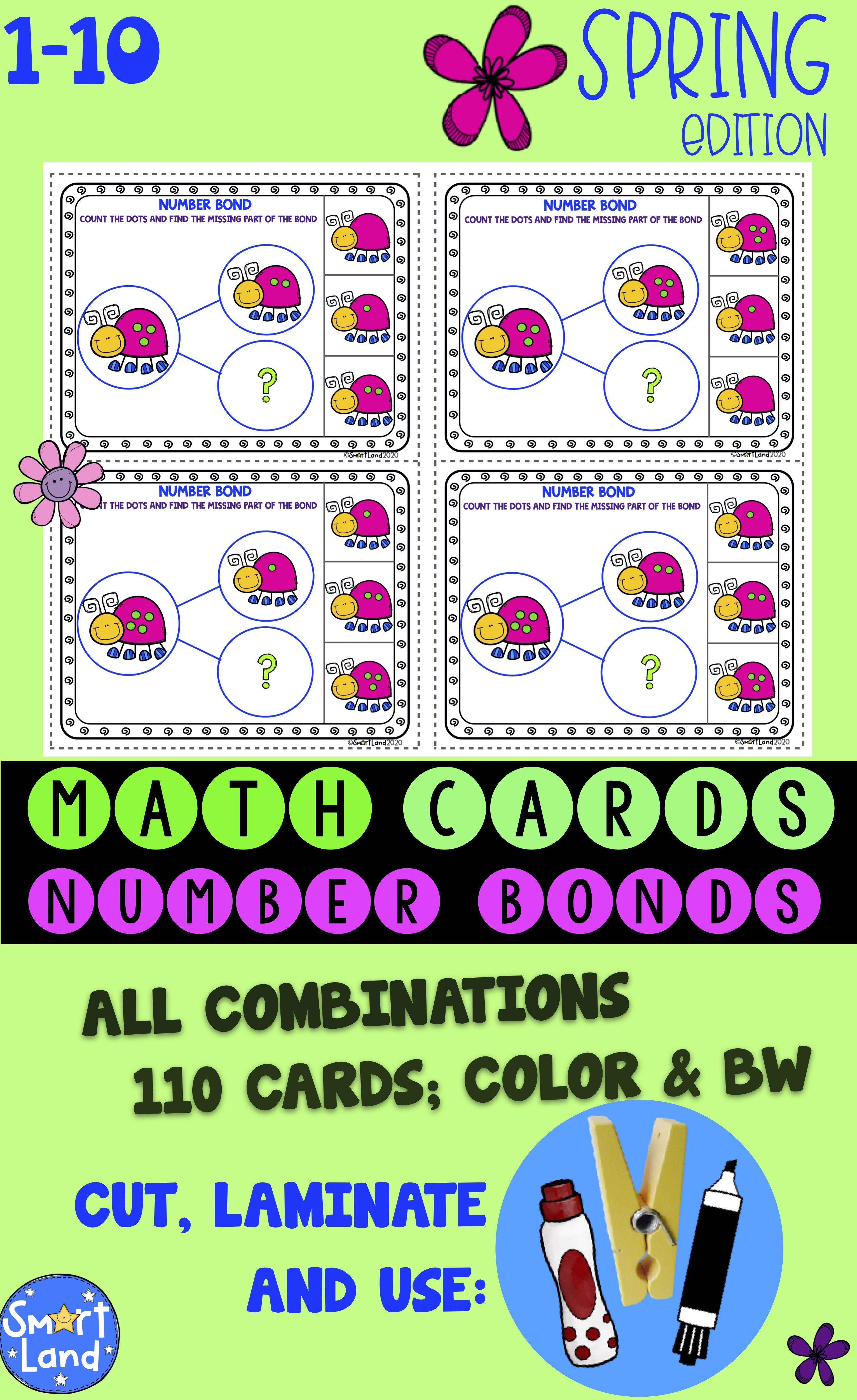 Math Cards Number Bond Spring In