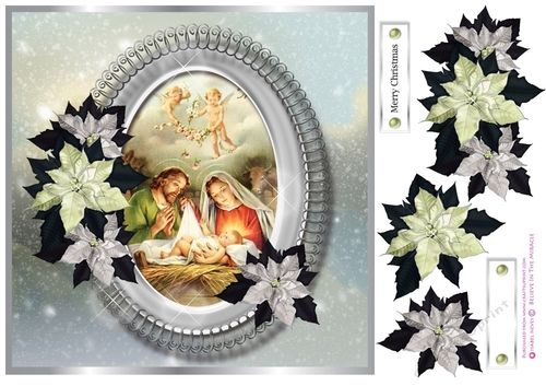 7.5 x 7.5 Card Topper with Decoupage and Sentiment Tags. **Sentiment Tags Read: Merry Christmas and 1 Blank