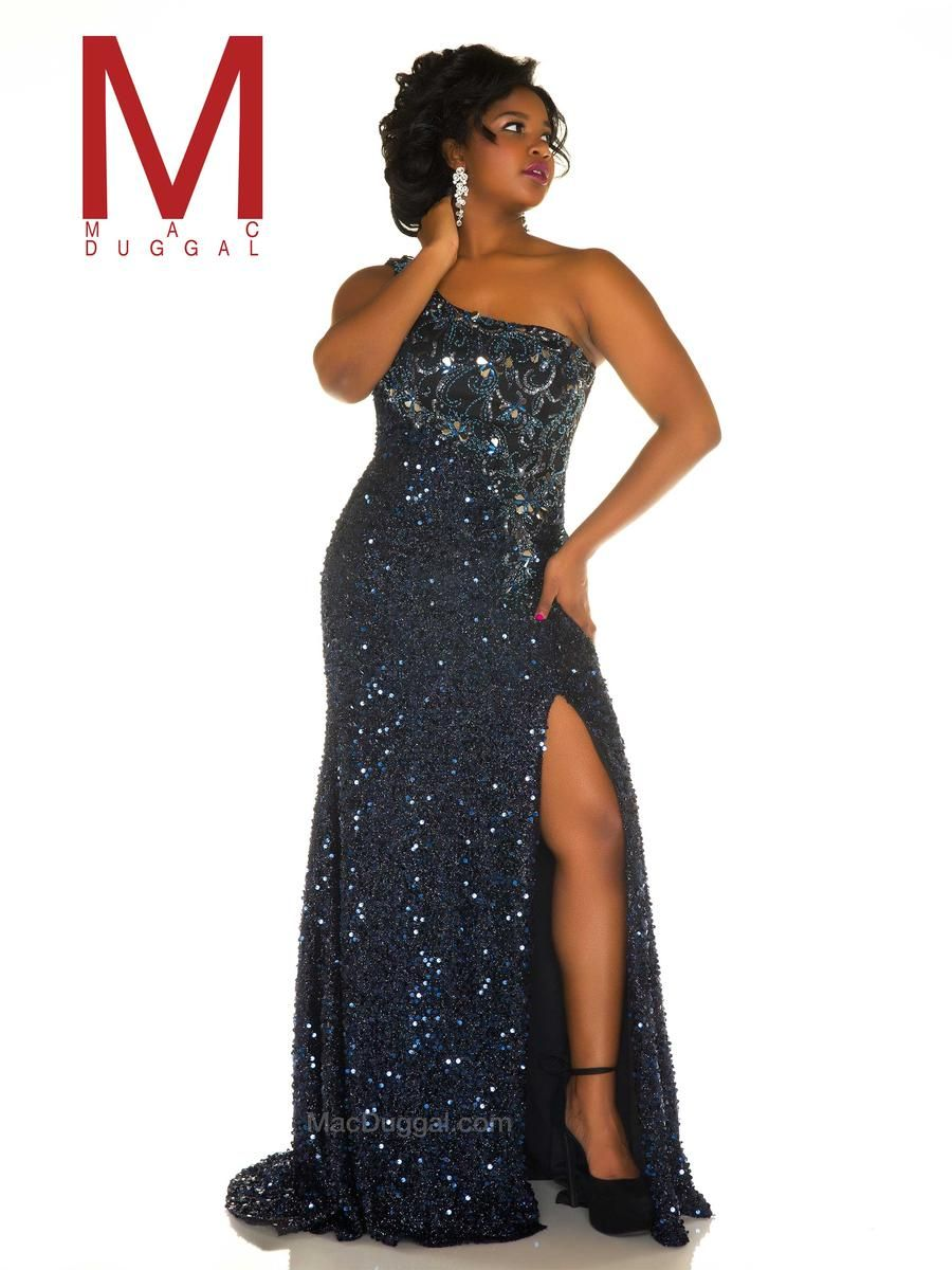 Mac duggal fabulouss f plus sequin one shoulder gown