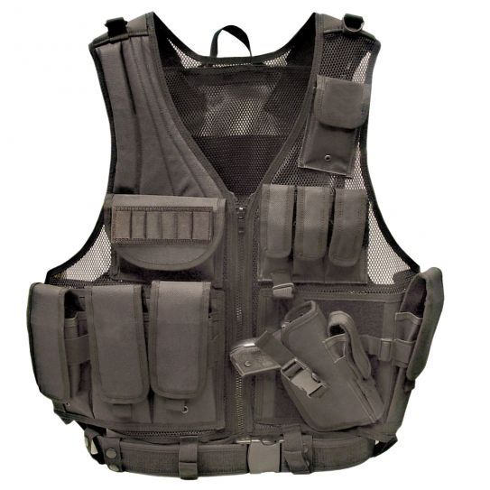 Husky Size Deluxe Tactical Vest with Magazine Pouches - Black - Galati