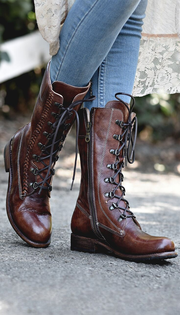 Dundee Boots Mid Calf Boots Leather Lace Up Boots