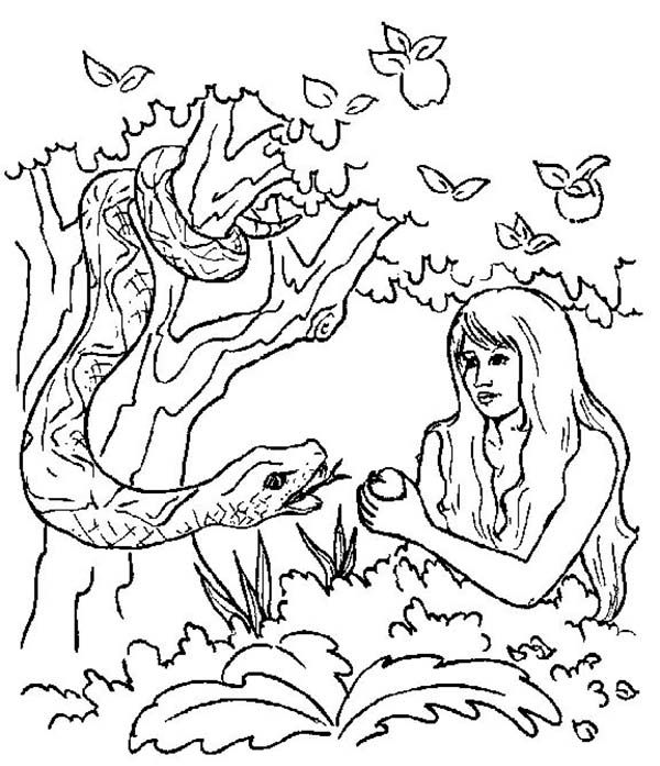 Eve And The Serpent Pick Forbidden Apple In Adam And Eve Story Coloring Page Bibel Themen