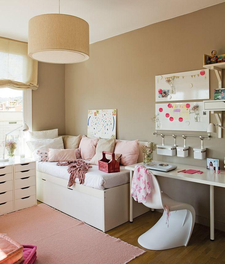 15 ideas para crear una zona de estudio - Dormitorios juveniles con poco espacio ...