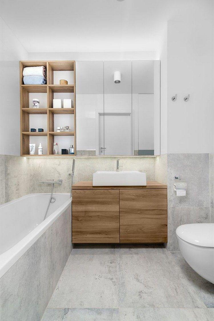 graue fliesen in steinoptik, regale und schrank aus holz und led, Badezimmer