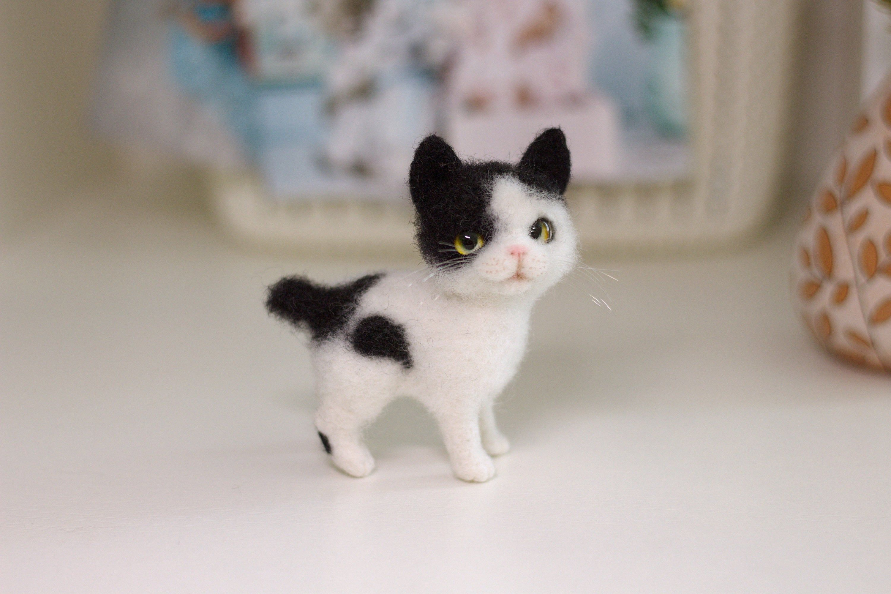 Black And White Little Cat Japanese Bobtail Cute Kitten Toy Etsy In 2020 Kittens Cutest Cat Toys Spotted Cat
