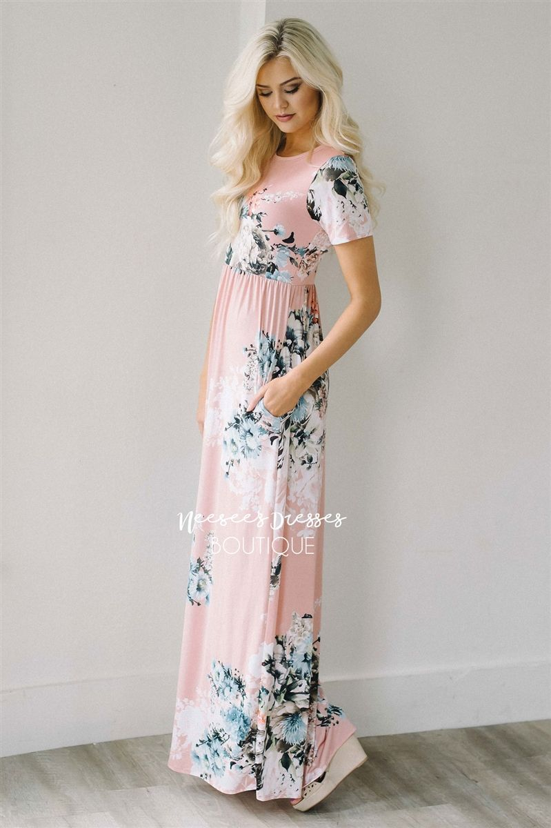 a5de2cbe4bb Our Pretty as a Petal Maxi dress is a beautiful light pink and features  short sleeves