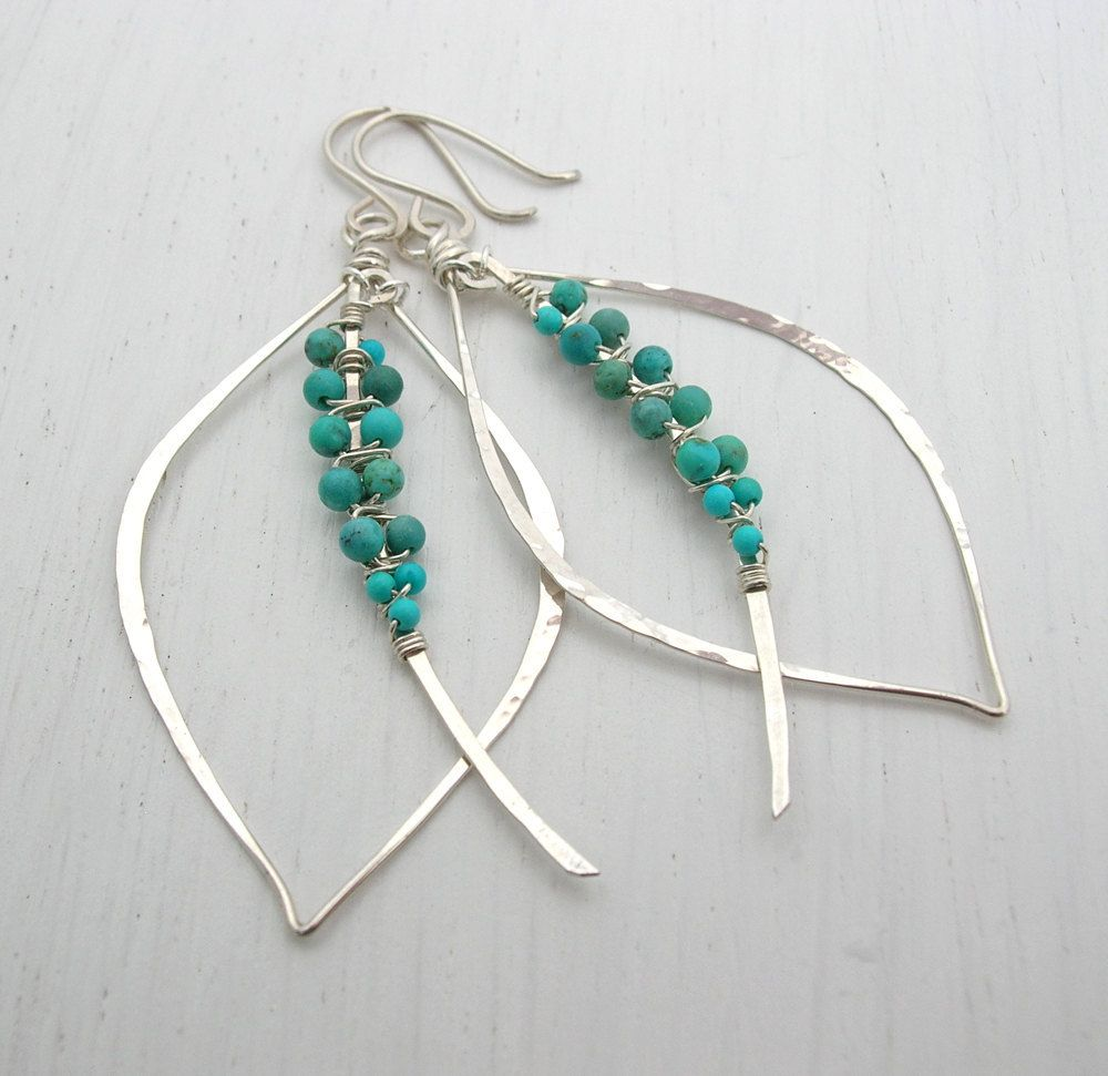Peruvian Turquoise Tusk Earrings   Wire wrapping, Jewelry ideas and ...