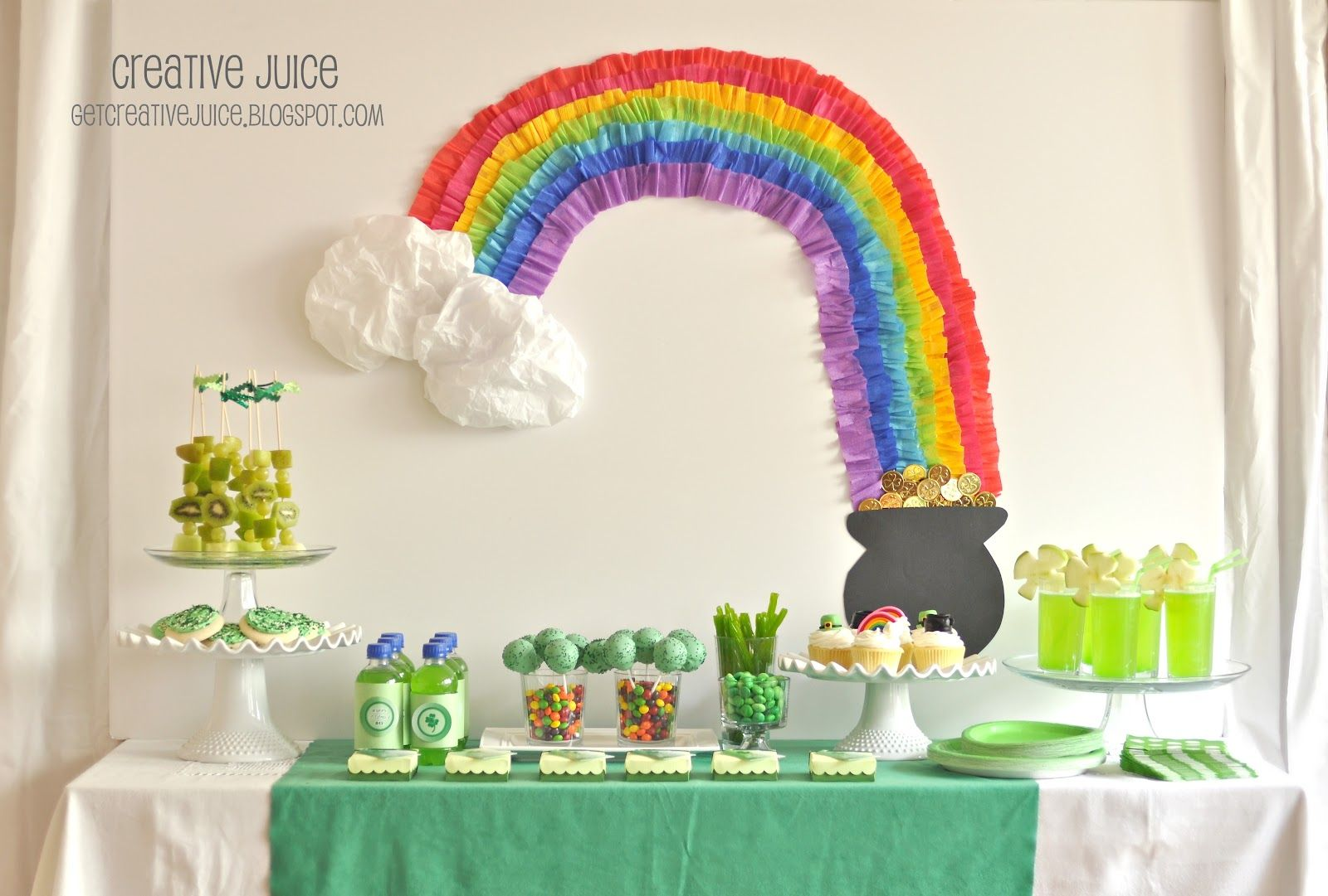 St. Patrick's Day party ideas and recipes. LOVE THE CREPE PAPER RAINBOW!