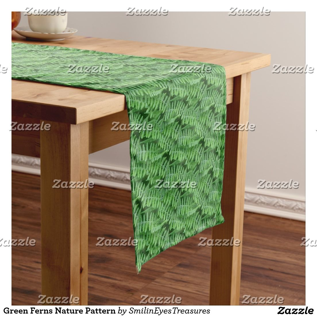 Green Ferns Nature Pattern Short Table Runner at Smilin' Eyes Treasures on Zazzle.