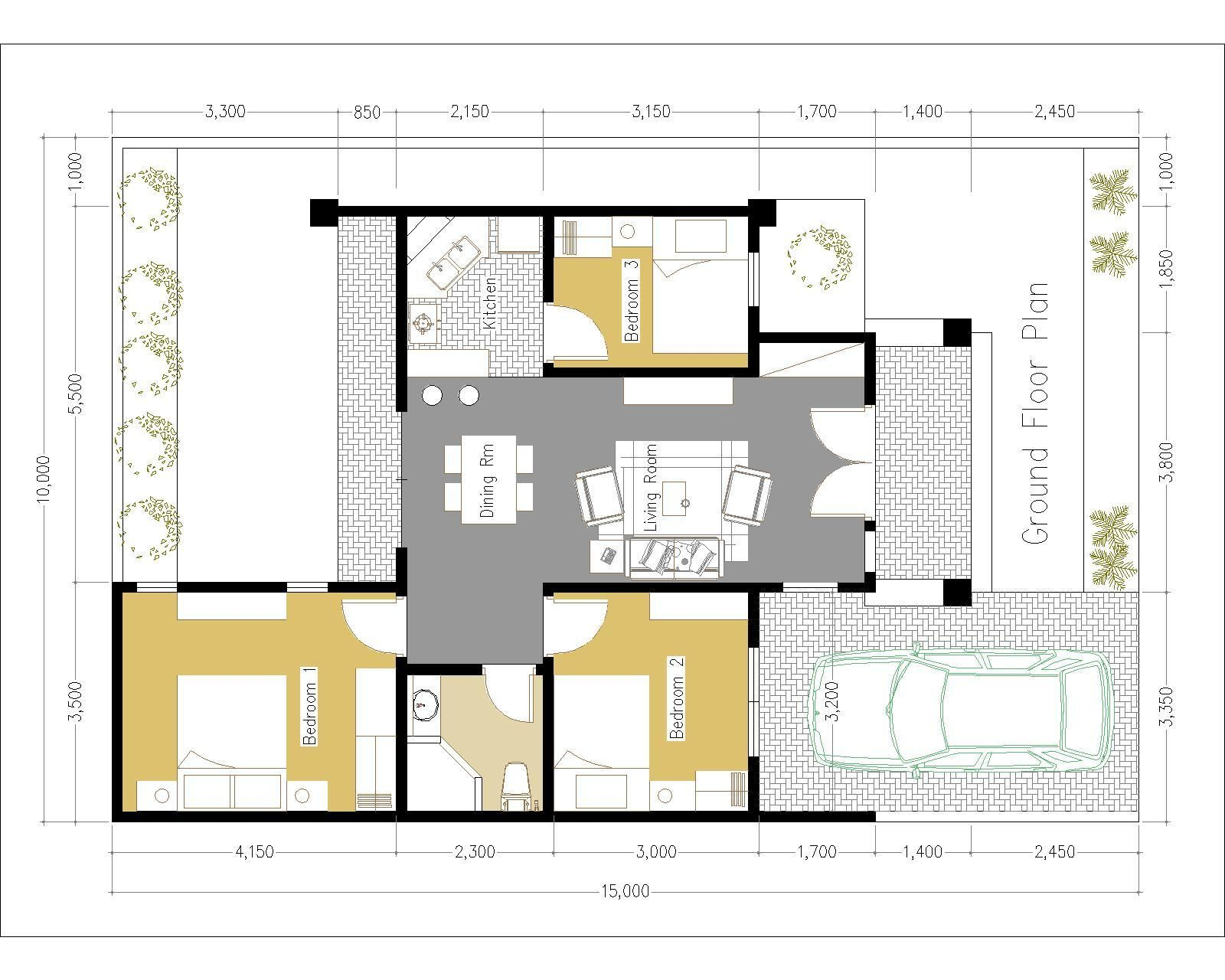 One Story House With 3 Bedroom 10x15m Samphoas Plan One Level House Plans House Plans Bedroom House Plans