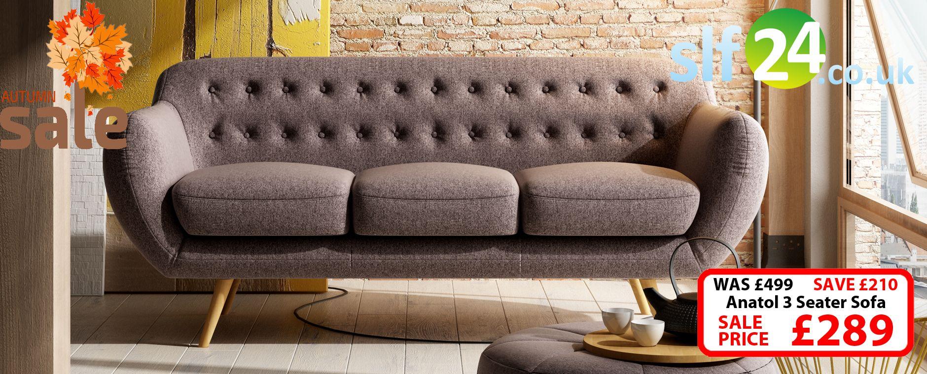 Anatol 3 Seater Retro Sofa - Fabric Sofas | Living Room | Retro sofa ...