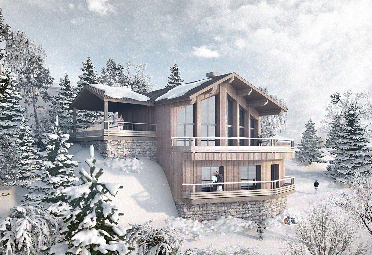 Illustration 3D d'architecture pour le dépôt d'un permis de construire d'une construction d'un chalet à Isola 2000 pour le cabinet d'architecture Mazzarese Architectes. Vizion Studio a réalisé l'image de ce projet.