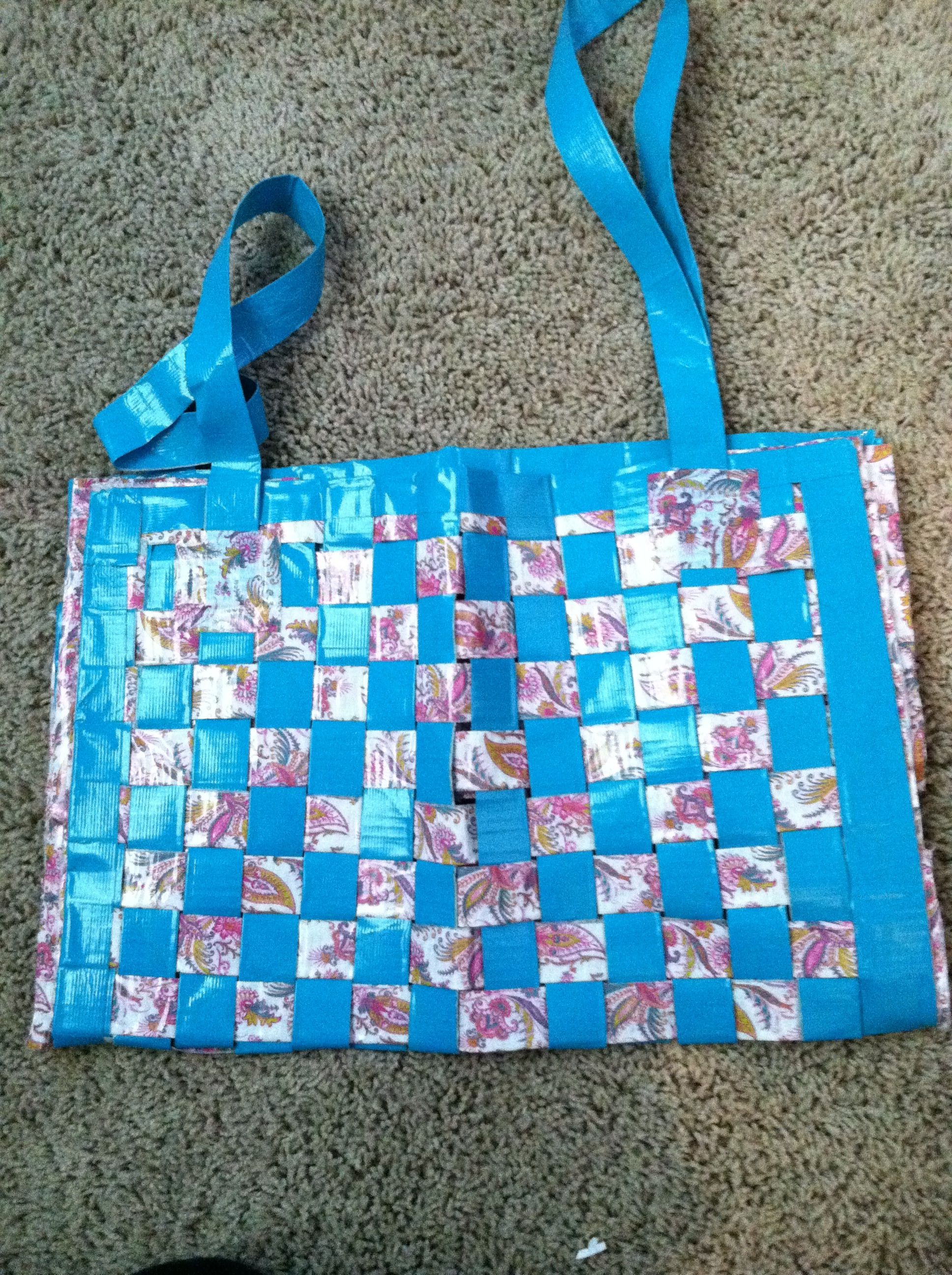 Woven duct tape beach bag!