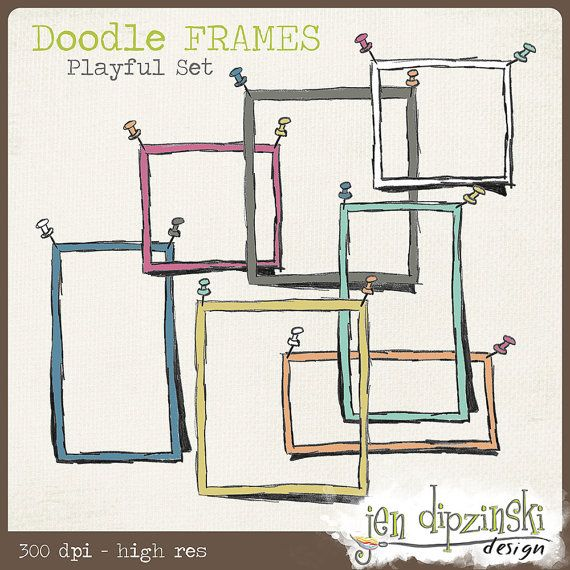 Doodle Frames & Push Pins  Playful INSTANT by JenDipzinskiDesign