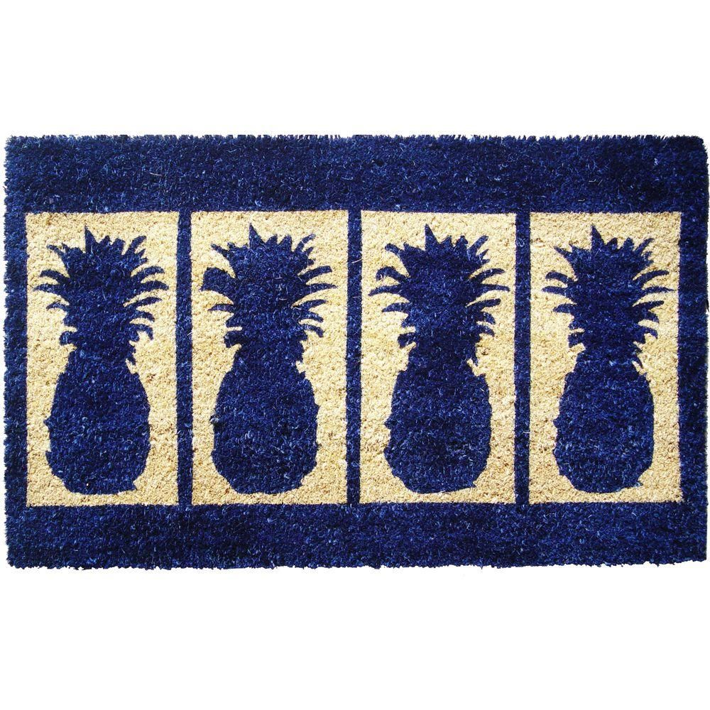 Four pineapples in x in extra thick hand woven coconut fiber