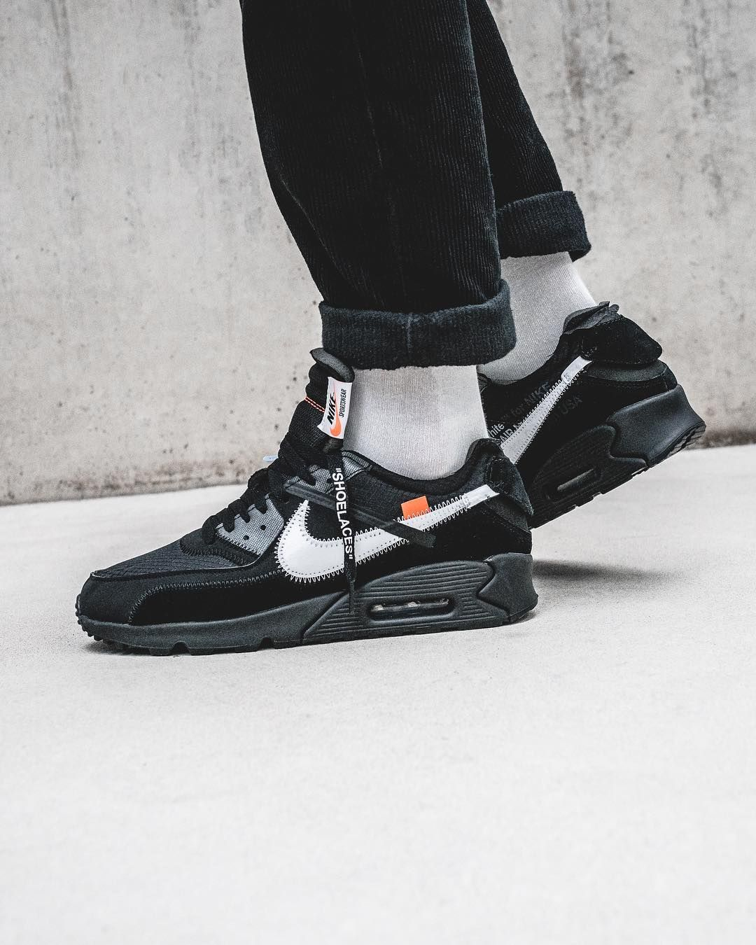 Nike X Off White Air Max 90 Desert Ore And Black Sneakers Nike Air Max Nike Air Max 90 Black Nike Air Max White
