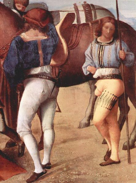 Italian hose of the first decade of the century. The man on the left wears hose divided into upper hose and nether hose or stockings. The man on right wears hose slashed around one thigh, with a pouched codpiece, 1500–1510, YIKES !