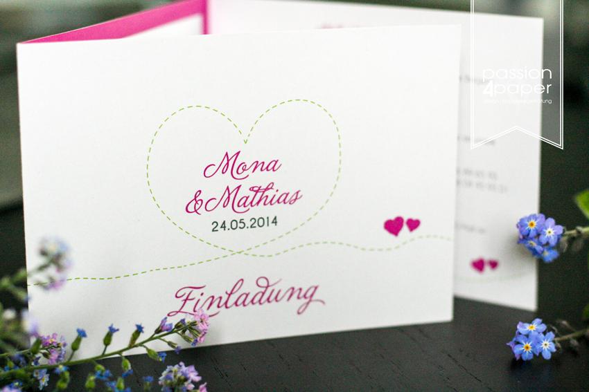 Einladung Zur Hochzeit, Dreiteilige Faltkarte In Pink, Grün Und Weiß, Mit  Einlegern Für Anfahrt Und Persönliche Worte. Hochzeitslogo Herz  ©passion4paper ...