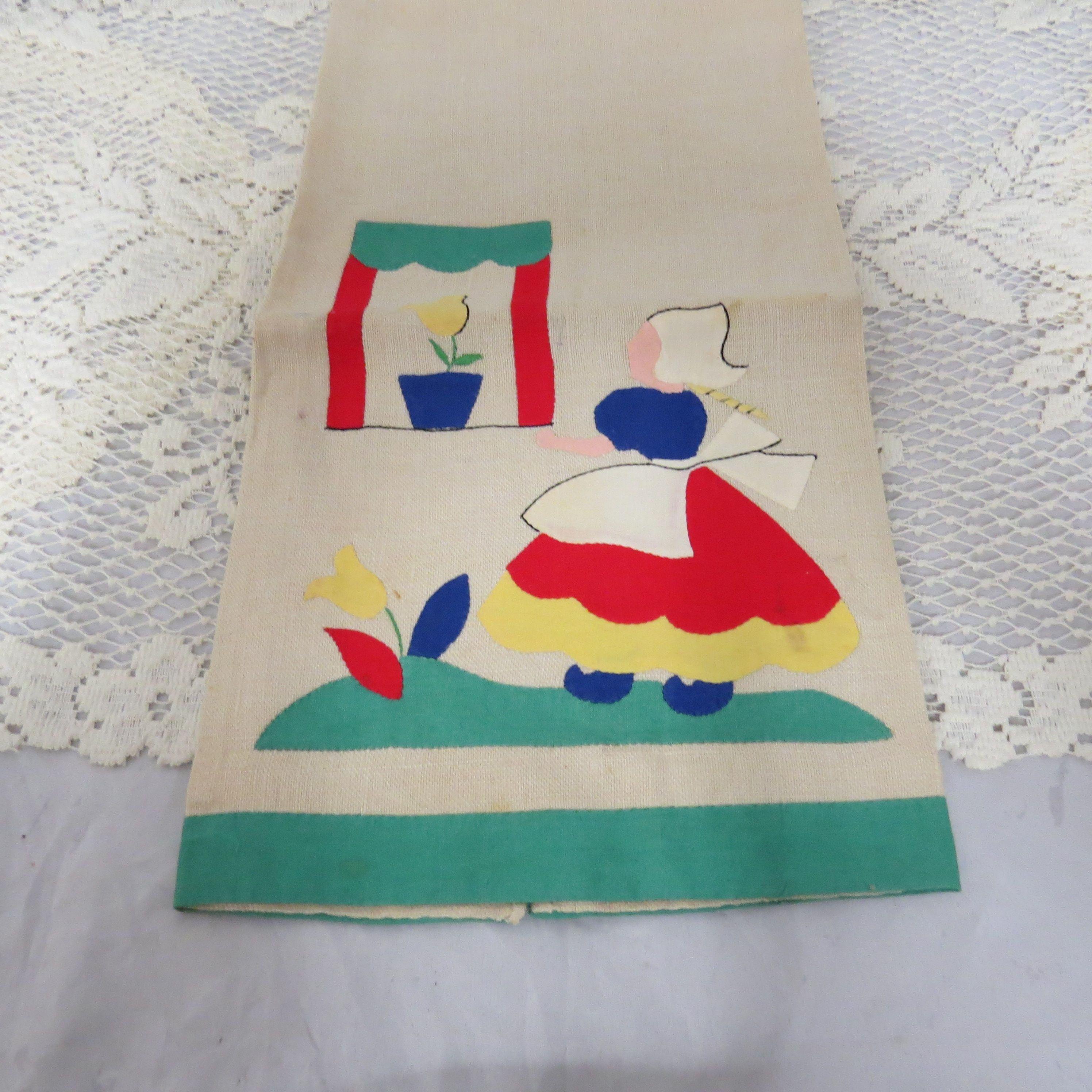 Vintage Linen Applique Cup Towel Hand Towel Dutch Girl With Tulips Hand Sewn Vintage Linens Handcraft Crafts